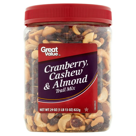 (2 Pack) Great Value Trail Mix, Cranberry, Cashew & Almond, 29 oz
