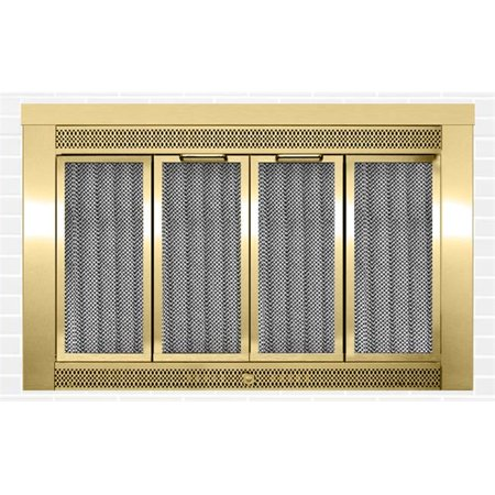 Traditional Fireplace Doors, Antique Brass - 52 lbs