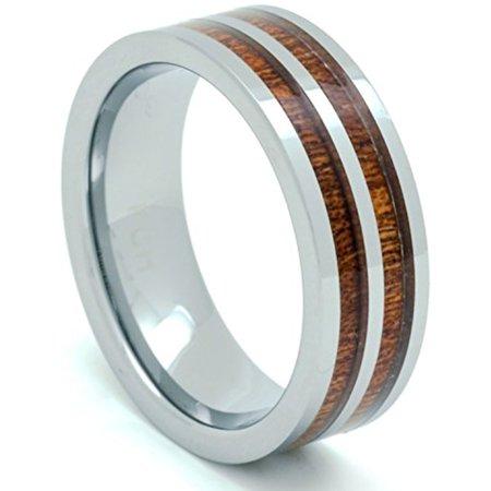 Wood Wedding Band.Tungsten Hawaiian Koa Wood Wedding Band Flat Top 2 Row Comfort Fit Ring 11