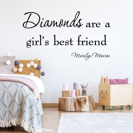 VWAQ Diamonds Are a Girl's Best Friend Marilyn Monroe Vinyl Wall Decal Quotes Art - 10193 ()