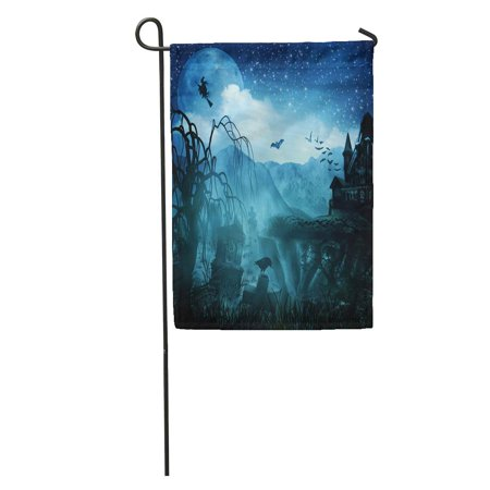 KDAGR Green Spooky Abstract Halloween Forest Scene Tree Spider Gothic Garden Flag Decorative Flag House Banner 28x40 - Halloween Forest Scene