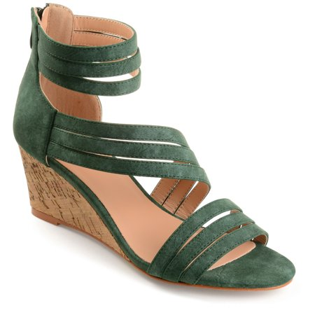Womens Strappy Faux Leather Faux Cork Wedges ()