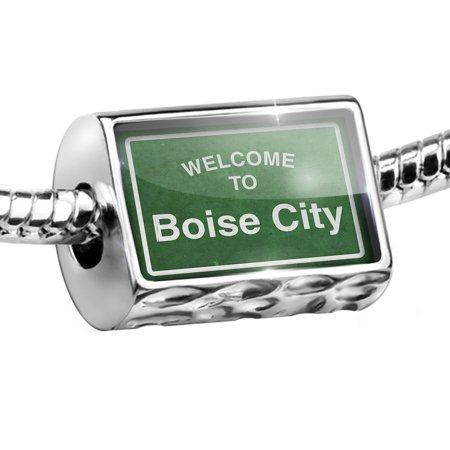 Bead Green Road Sign Welcome To Boise City Charm Fits All European - Halloween City Boise