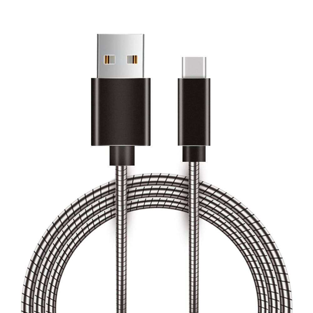 USB Type C Cable, USB Type C Data Sync and Fast Charging Cable Quick Data Transfer Metal Snake Cord with Aluminium Connector Design (40 inches) - Grey