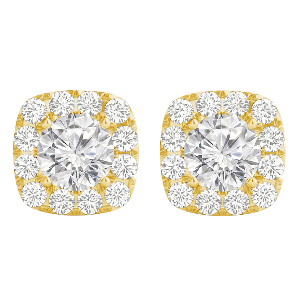 Cubic Zirconia Push Back Yellow Gold Vermeil Earrings - image 2 of 2