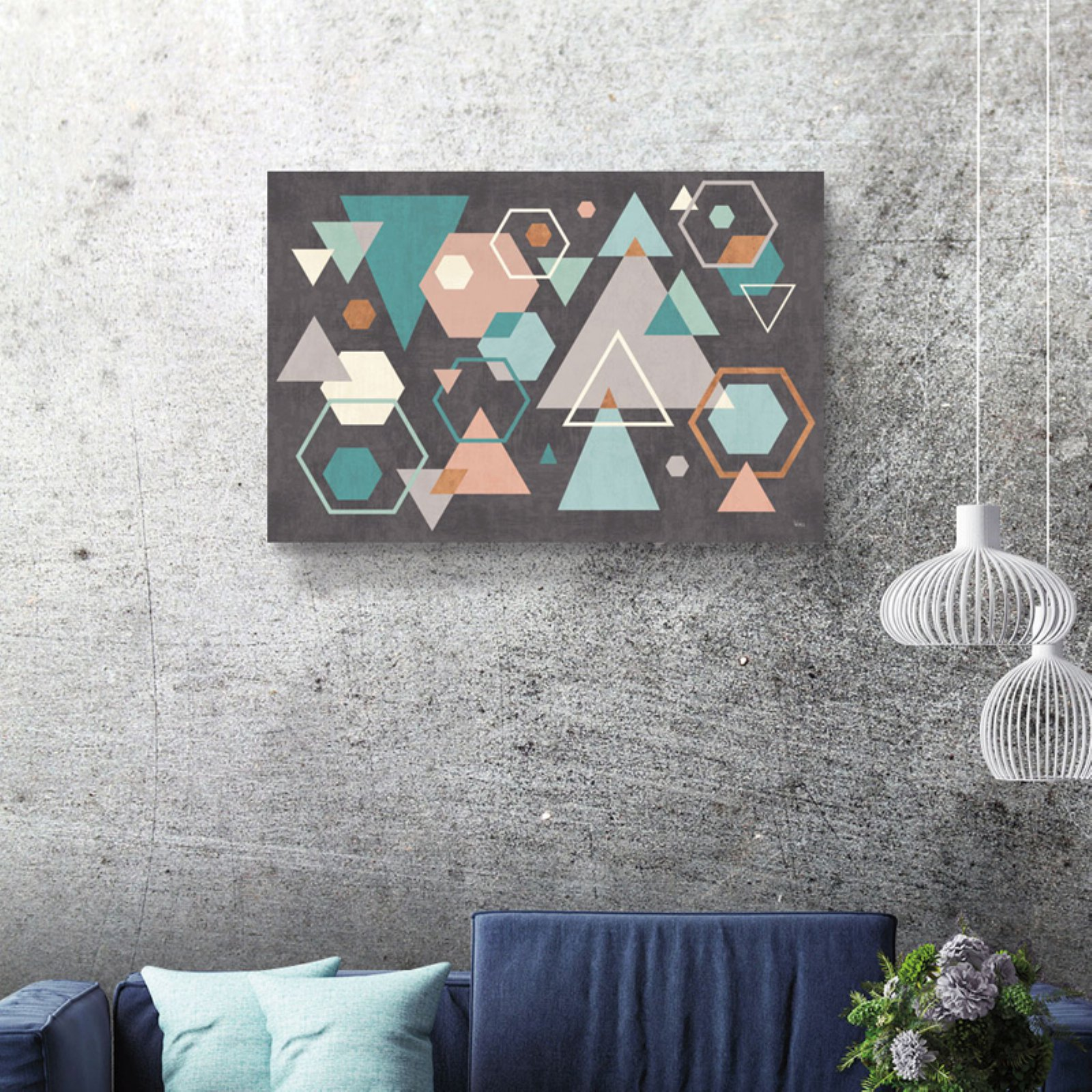 Brushstone Abstract Geo I Black by Veronique Charron Gallery Wrapped Canvas
