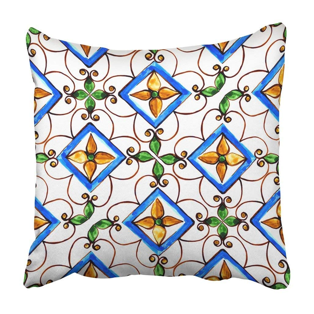 WOPOP Black Flower Italian Majolica Tiles Floral Blue Abstract Color Glass Graphic Hand Pillowcase Cover 16x16 inch