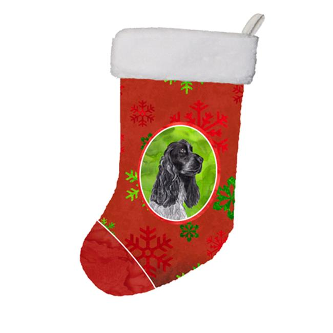 Carolines Treasures SC9582-CS Black Cocker Spaniel Red Snowflakes Holiday Christmas Stocking, 11 x 8 In. - image 1 de 1