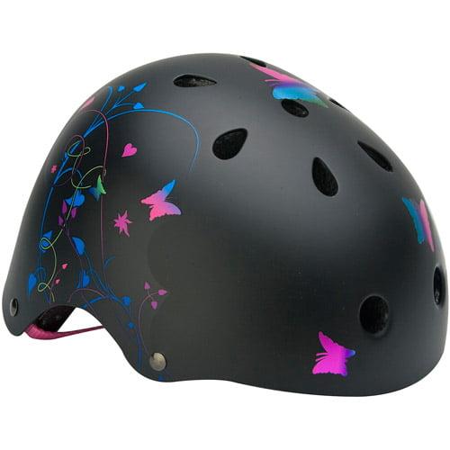 Mongoose Girls' Filigree Hardshell Multi-Sport Youth Helmet, Black with Rainbow Graphics