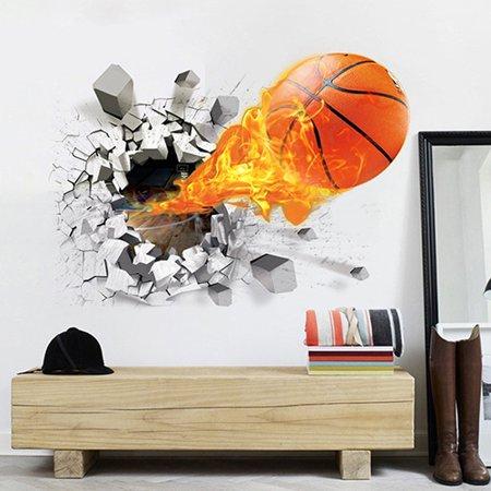 Obstce Waterproof 3D Basketball Rush out Wall Art Decal Kids Room Decor Mural Sticker