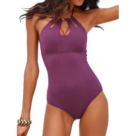60bc408c6b6 Women Swimming Costume Padded Swimsuit Monokini Swimwear Bikini Push Up  Bathing - Walmart.com