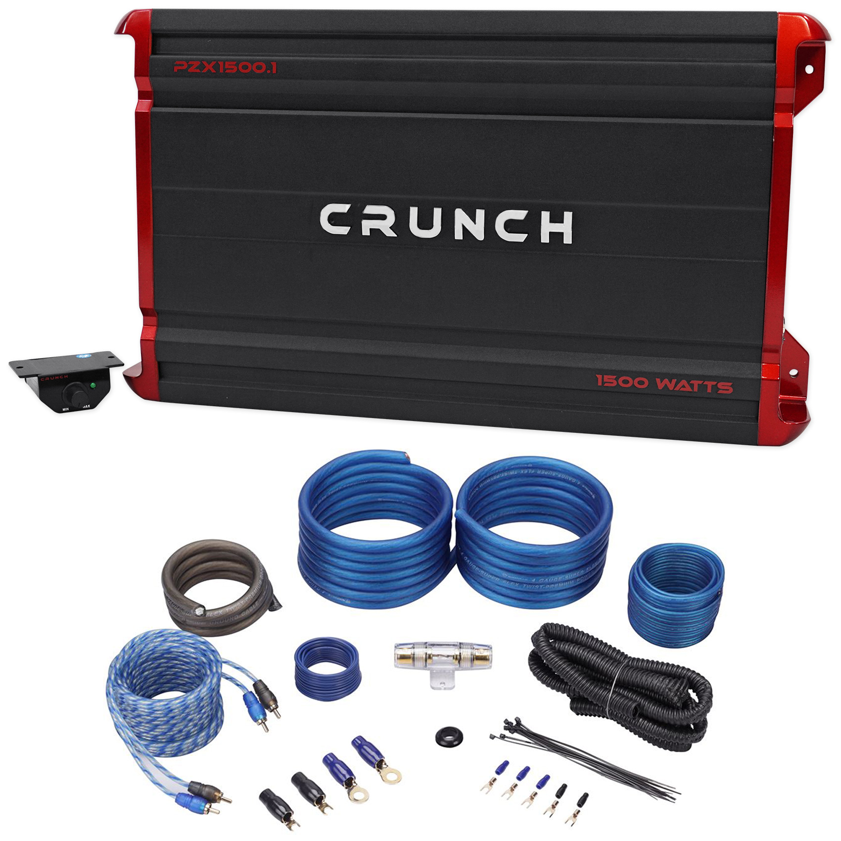 Crunch PZX1500.1 1500 Watt Mono Class A/B Car Audio Amplifier+Amp Wire