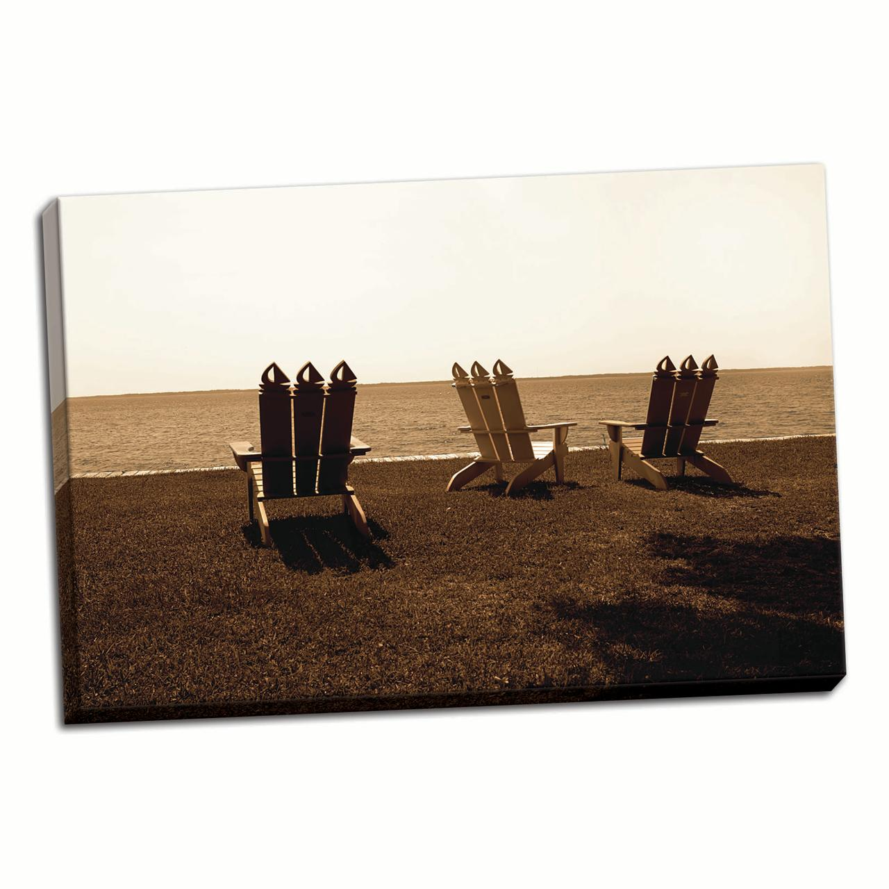 Adirondack Chairs II, Fine Art Photograph By: Alan Hausenflock; One 36x24in Fine Art Paper Giclee Print by Gango Home Décor