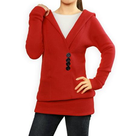 Women's Hoodies Button Embellishment Knit Tunic Red XL (US 18) - image 5 de 7