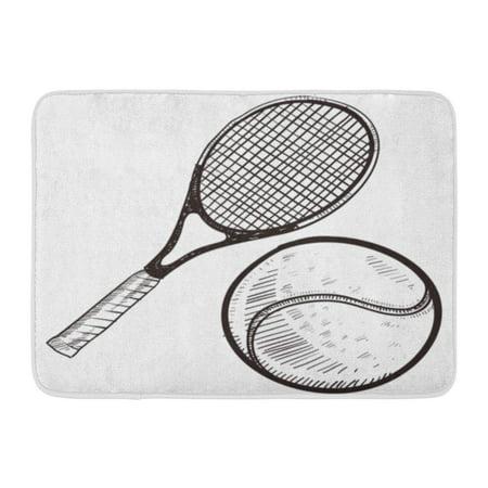 NUDECOR Sketch Doodle Tennis Ball and Racket Racquet Champion Competition Doormat Floor Rug Bath Mat 23.6x15.7 inch - image 1 de 1