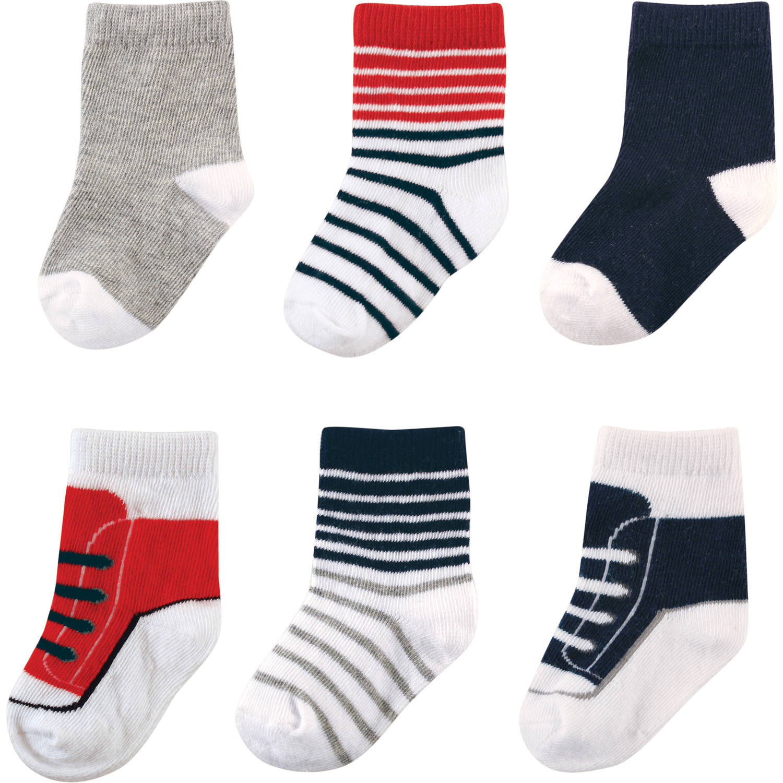 Luvable Friends Newborn Baby Boys Dressy Socks 6-Pack