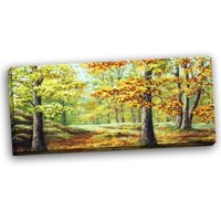 Design Art Autumn Wood Landscape Painting Print on Wrapped Canvas