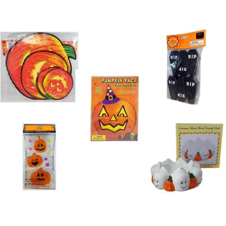 Halloween Fun Gift Bundle [5 Piece] - Classic Pumpkin Cutouts Set of 9 - Tombstone Containers Party Favors 6 Count - Darice Pumpkin Face Fun Felt Kit - Witch - Gel Clings Pumpkins, Stars -  Ceramic - Halloween Photo Face Cutouts
