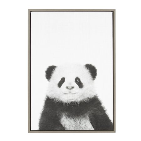 Panda Canvas Reproduction - Kate and Laurel Sylvie Panda Animal Print Black and White Portrait Framed Canvas Wall Art by Simon Te Tai, 23x33 Gray
