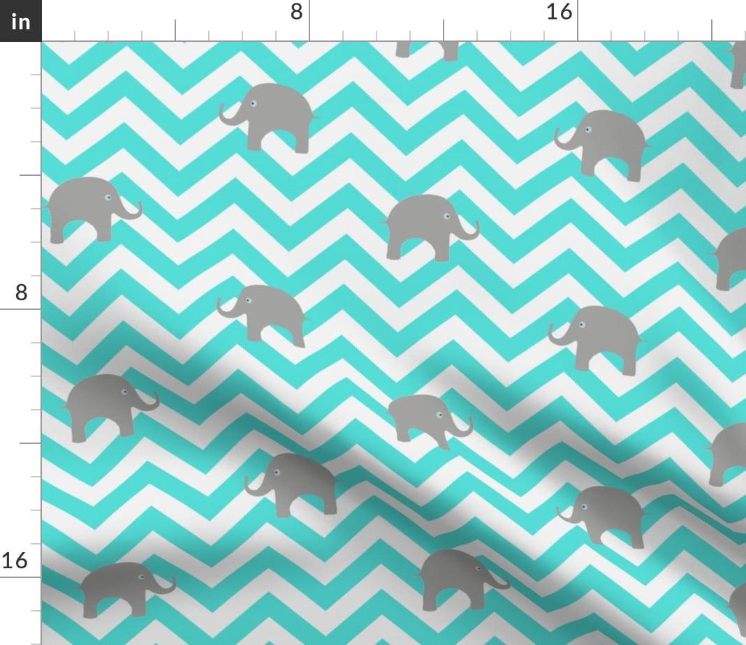 Baby Elephants Gray White Nursery Elephant Fabric Printed by Spoonflower BTY