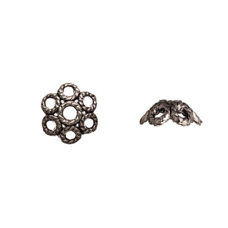 Rope Form Round Petal Antique Silver-Plated Bead Cap Fits 13-15mm Beads 13x13mm Sold per pkg of 10pcs per pack