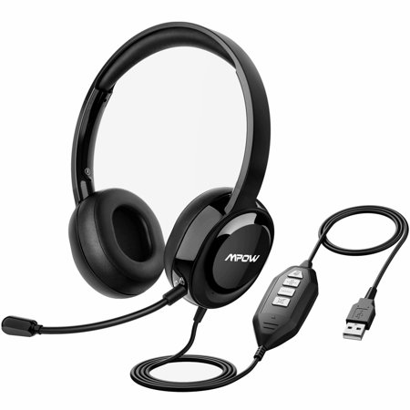 Mpow Wired Headset with Microphone, USB Headset/3 5mm PC Headphones,  Business Headset with Noise Cancelling Mic for Computer, Phone, Skype,  Webinar,