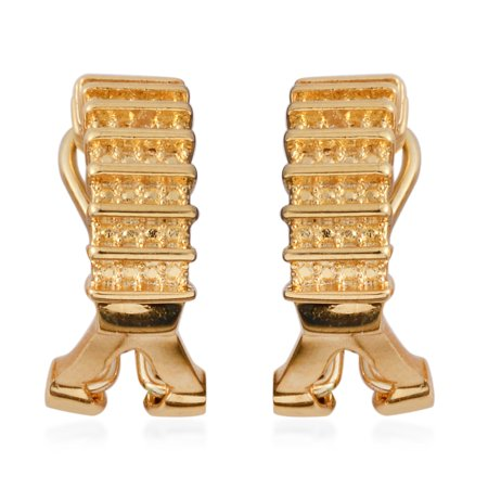 Hoops Goldtone Diamond Hoop Omega Clip Earrings for Women Hypollergenic Jewelry Gift
