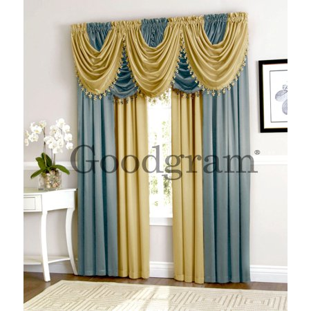Ultra luxurious complete hyatt window curtain fringed valance treatments set antique blue - Clever window curtain ideas matched with interior atmosphere and concept ...