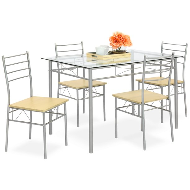 Best Choice Products 5-Piece Glass Top Dining Table Set for Kitchen, Dining Room w/ 4 Chairs, Steel Frame - Silver