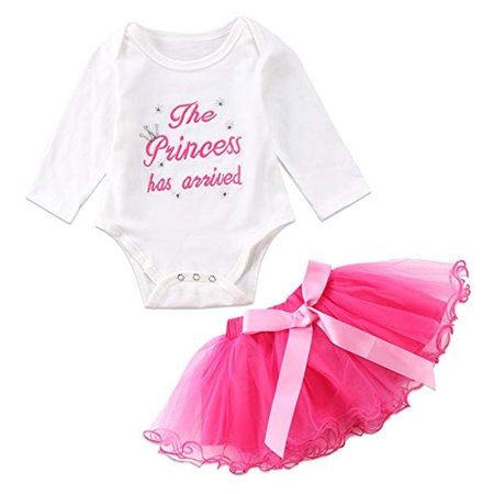 Baby Girls Princess Costume Dress Cotton Romper Bodysuit and Pink Bow Ruffle Tutu Skirt Outfit Set