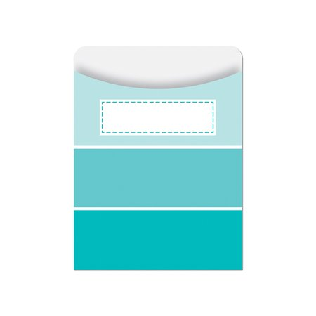 TURQUOISE PAINT CHIP LIBRARY POCKETS - PAINT