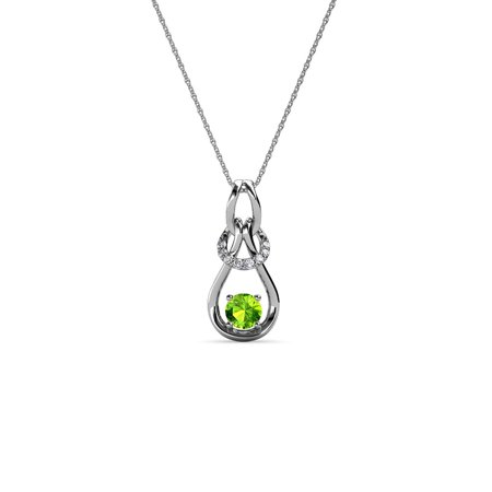 14k Gold Diamond Love Knot - Diamond & Peridot 0.16 Carat tw Women Love Knot Slider Pendant 14K White Gold with 18