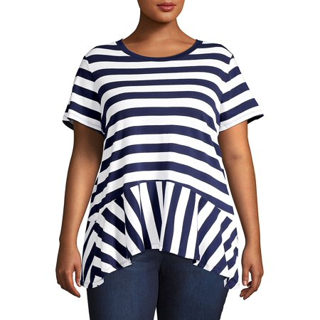 Plus Stripe-Panel Peplum Top