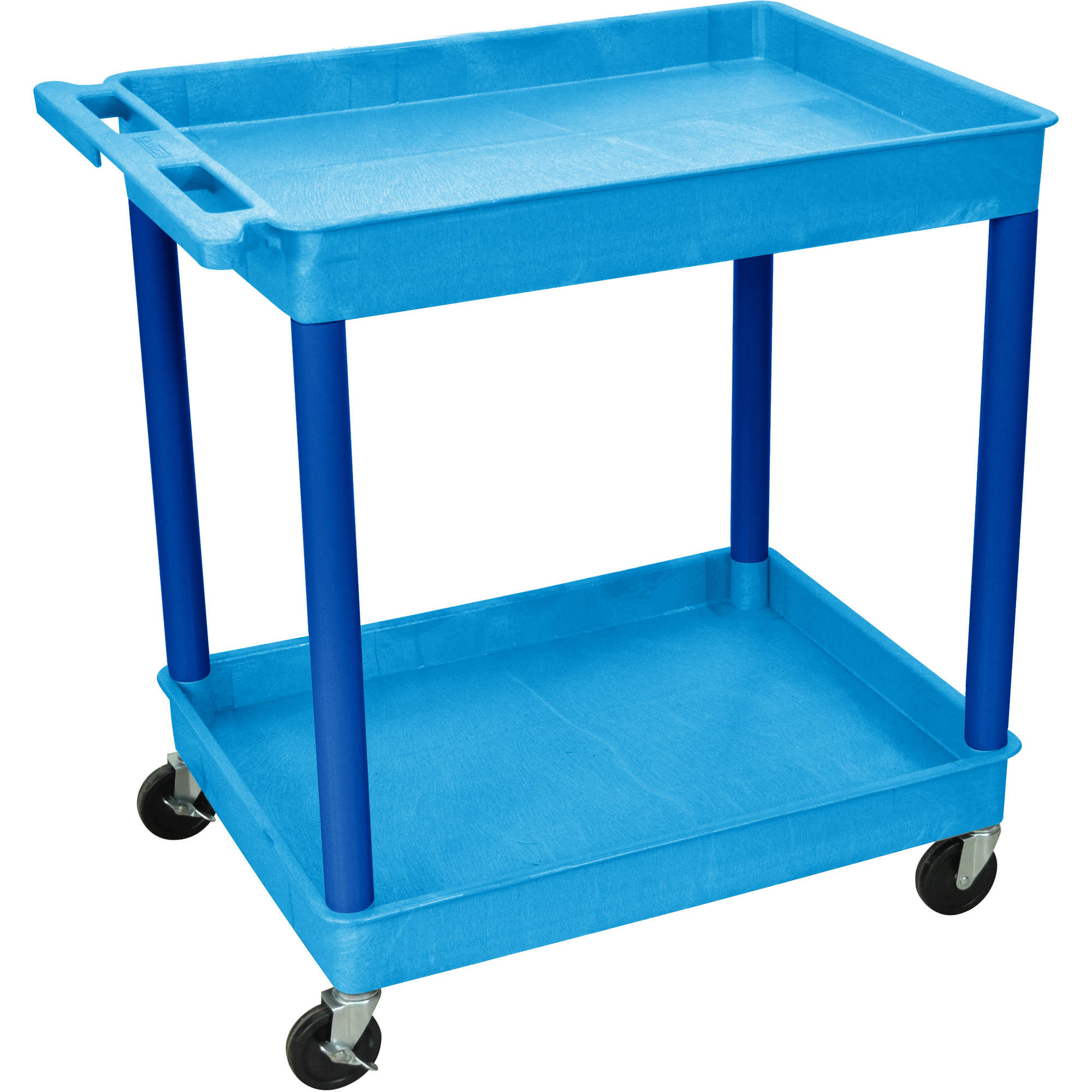 Luxor Large 2-Shelf Tub Cart, Blue