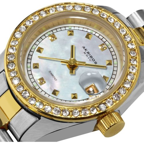 Akribos XXIV Women's Diamond Quartz Bracelet Watch (Two Tone Stainless Steel)