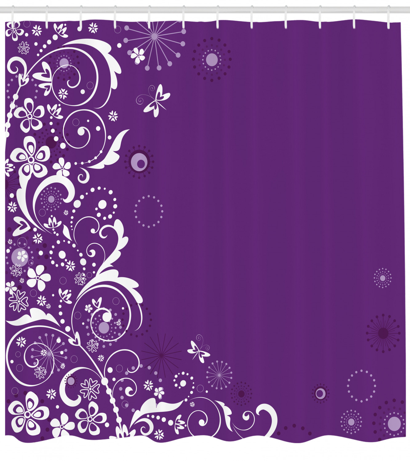Purple Shower Curtain Abstract White Floral Pattern With Butterflies Dots And Dandelions On Violet Fabric Bathroom Set With Hooks 69w X 70l Inches