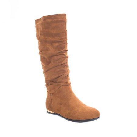 6fdd4de14c Soho Shoes - Soho Shoes Women's Knee High Faux Suede Winter Heel Fashion Flat  Boots - Walmart.com