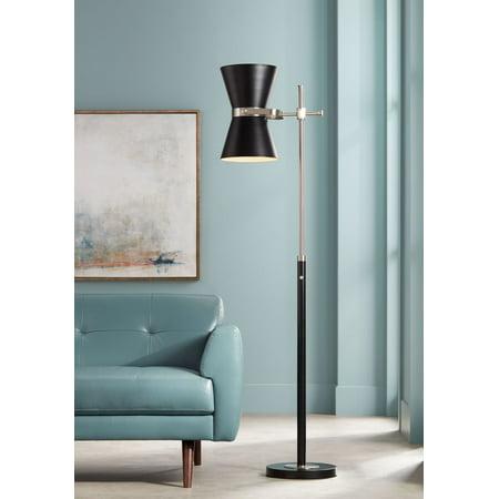 Possini Euro Design Mid Century Modern Floor Lamp Black