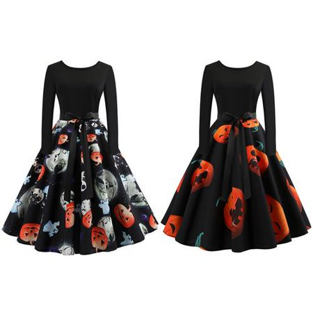Women Vintage Pumpkin Head Printing Long Sleeve Round Neck Gown Dress with Belt for Halloween Festival Party