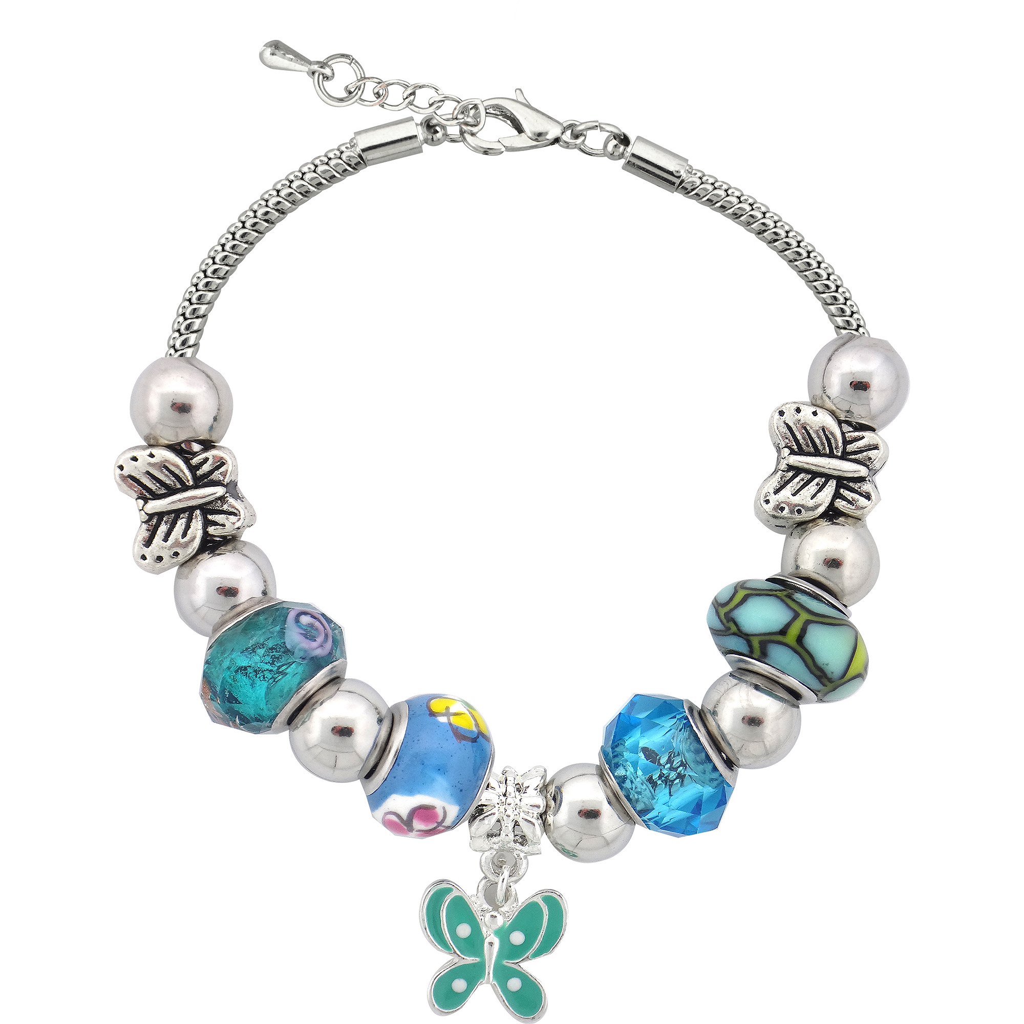 Silvertone Butterfly Charm and Glass Beads Bracelet with Extender, 7.5