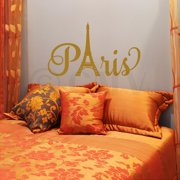 """Paris with Tower Vinyl Lettering Quote Wall Saying Decal Sticker (13""""H x 22""""W, Metallic Gold)"""
