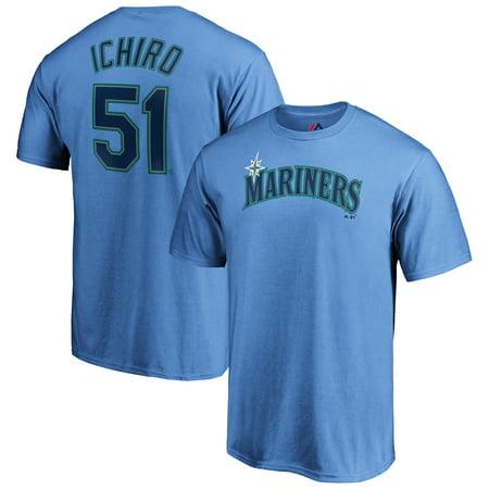 Ichiro Suzuki Seattle Mariners Majestic Official Name & Number T-Shirt - Light Blue