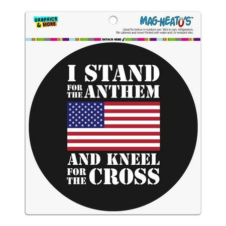 I Stand For The Flag Kneel Cross USA American Flag Patriotic Automotive Car Refrigerator Locker Vinyl Circle Magnet