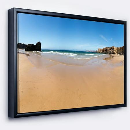 DESIGN ART Designart 'Calm Sandy Coastline Panorama' Oversized Beach Framed Canvas Artwork