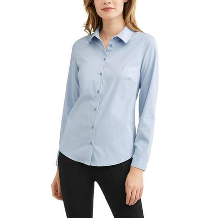 a9772b08d7928b Time and Tru - Women s Career Button Down Shirt - Walmart.com