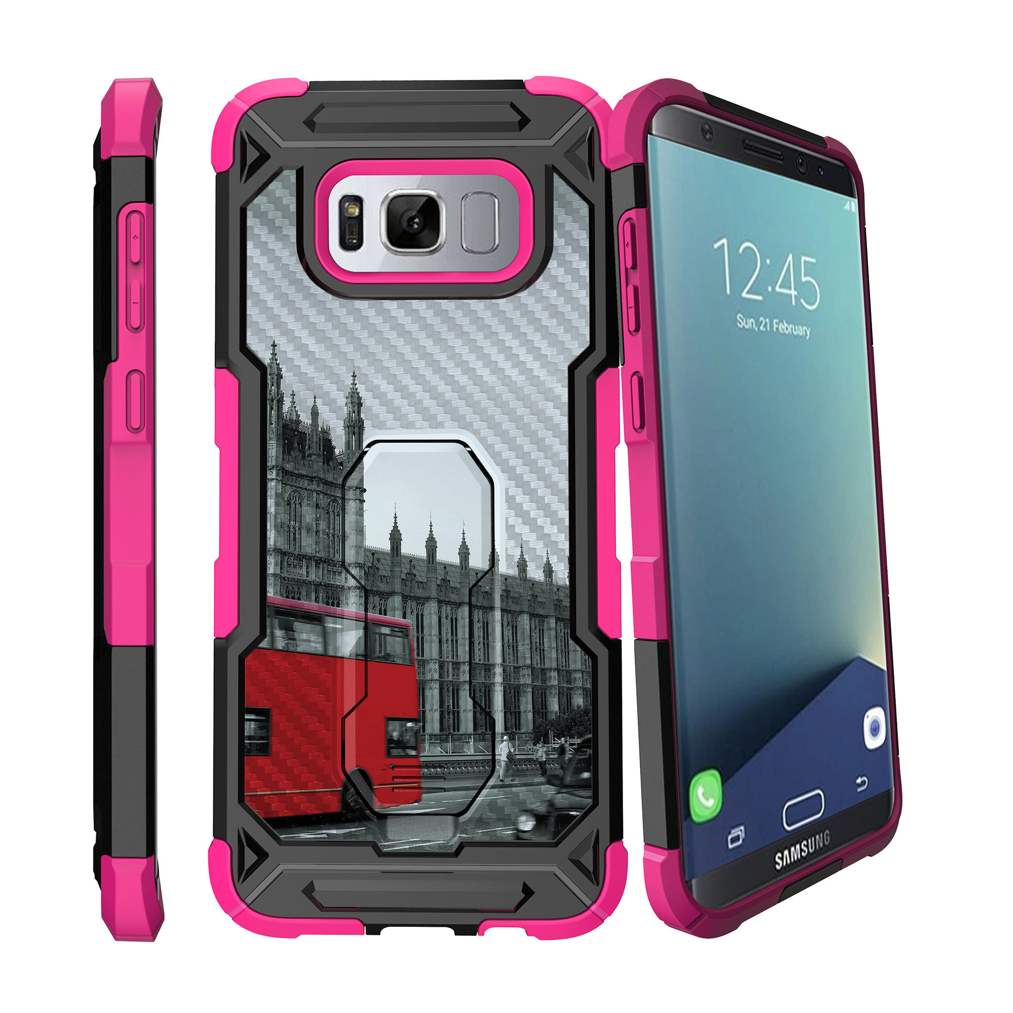 Case for Samsung Galaxy S8 Plus Version [ UFO Defense Case ][Galaxy S8 PLUS SM-G955][Pink Silicone] Carbon Fiber Texture Case with Holster + Stand City Travel Series