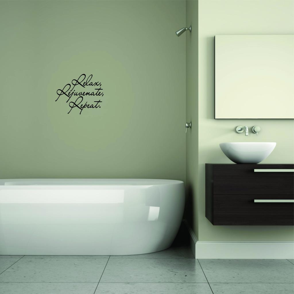 Custom Wall Decal Sticker - Relax Rejuvenate Repeat. Bathroom Quote Home Decor 12x12""