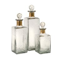 Benzara Classy Set of 3 Hampshire Etched Decanters by Benzara