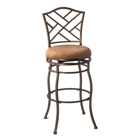 Bowery Hill 30 Quot Lattice Back Swivel Bar Stool In Brown