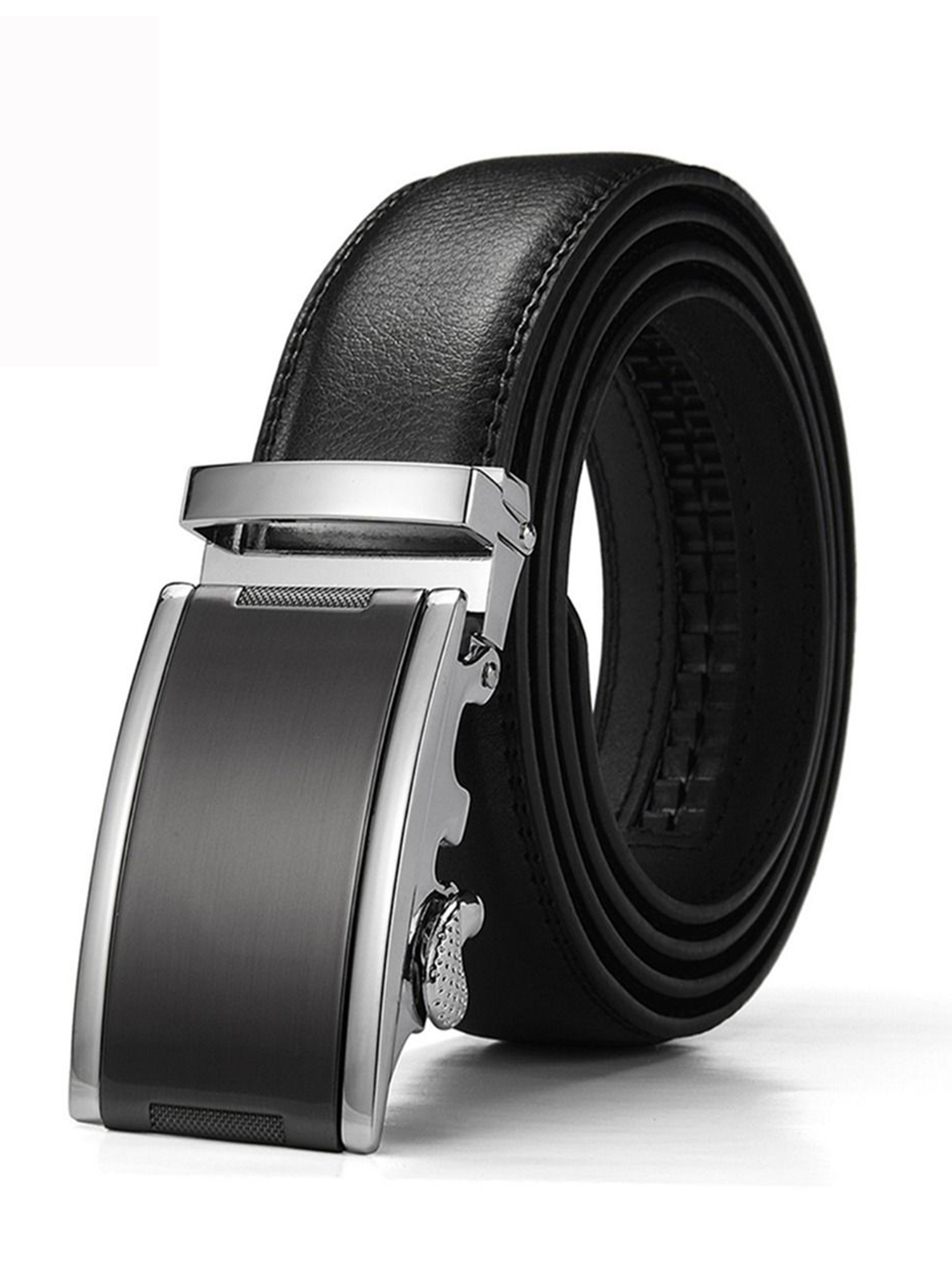 """Men/'s Solid Automatic Buckle Belt with Ratchet Leather Strap 35mm Wide 1 3//8/"""""""